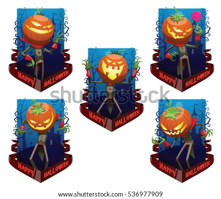 "Vector set of dark blue cards ""Happy Halloween"" with bare trees, cemetery, banner and with cartoon image of Jack O' Lantern , with different actions and emotions on a white background. Halloween."