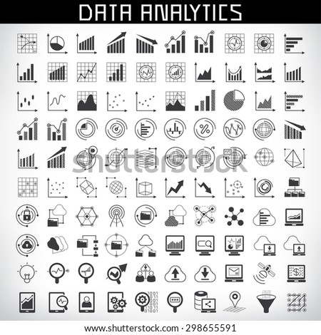 vector set of data analytics icons, big data icons - stock vector