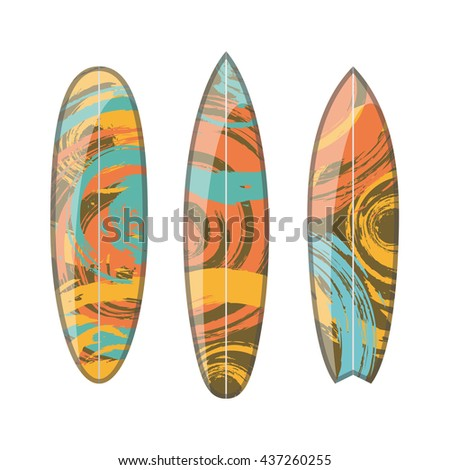 Vector set of decorated colorful surfboards. Different shapes and types isolated on white background. Surfboard prints design collection.