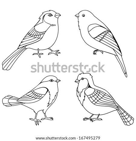 Vector set of decorative birds silhouettes isolated on white - stock vector
