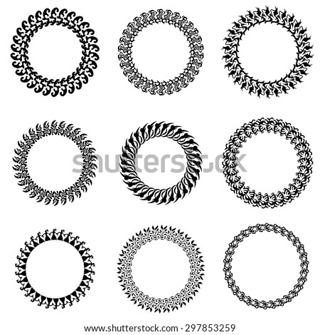 Vector Set of Decorative Circle Frames Isolated on White Backgrond - stock vector