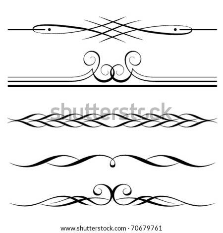Vector set of decorative elements, border and page rules frame - stock vector
