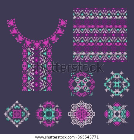 Vector set of decorative elements for design and fashion in ethnic tribal style. Neckline, patterns and seamless texture. Aztec ornaments - stock vector