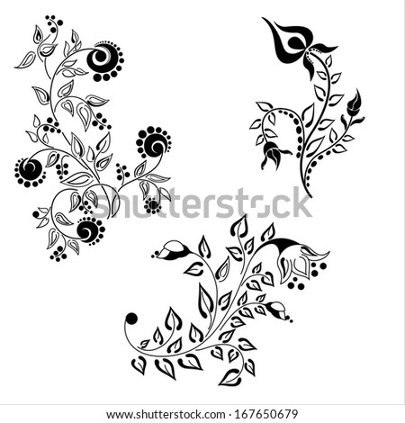 Vector set of decorative flowers isolated on white