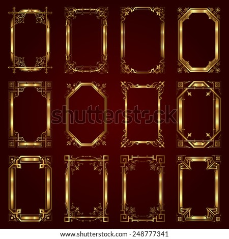 Vector set of decorative golden frames - stock vector