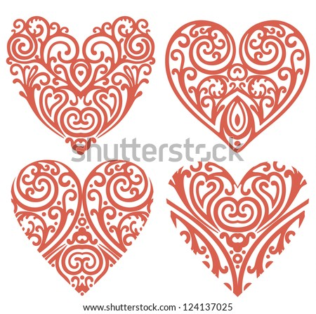 vector set of decorative hearts - stock vector