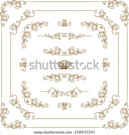 Vector set of decorative horizontal elements, border and frame with floral elements for design of invitation, greeting, gift card, certificate, diploma, voucher. Page decoration in vintage style. - stock vector