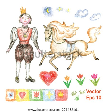 Vector set of decorative objects for design with the image of the prince, heart, horse, flowers, ornaments for the frame. Drawn by hand wax crayons