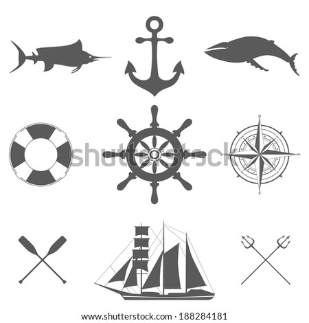 Vector set of decorative  sea signs and icons isolated on white - stock vector