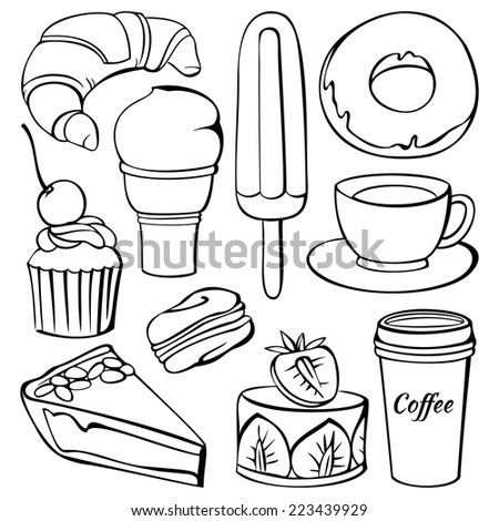 Vector set of  decorative sweet food and drinks illustration isolated on white