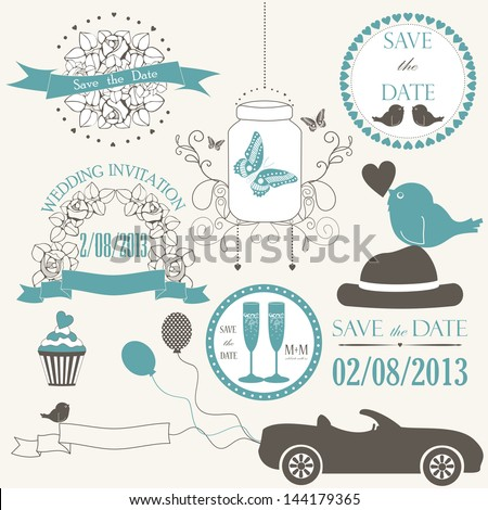 Vector set of decorative wedding elements in pastel color. Vector illustration - stock vector