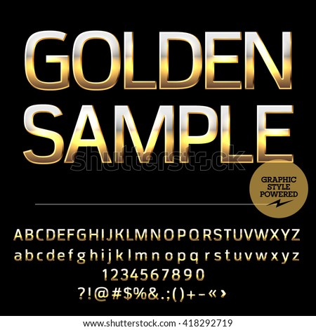 Vector set of deluxe gold alphabet letters, numbers and punctuation symbols. Compact bold style - stock vector