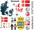 Vector set of Denmark country shape with flags, buttons and icons isolated on white background - stock vector