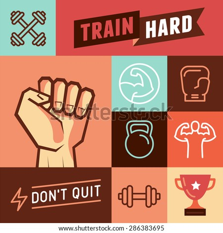 Vector set of design elements and icons for motivational sport posters and banners - signs for gyms and crossfit  trainings - stock vector