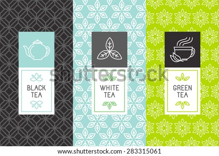 Vector set of design elements and icons in trendy linear style for tea package - white,black and green tea - stock vector