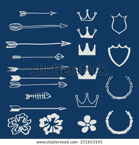 Vector set of design elements and page decor illustration - stock vector