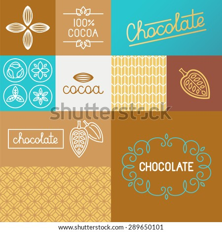 Vector set of design elements for chocolate and cocoa packaging and wrapping paper - set of icons , ornaments and hand-lettering related to sweet chocolate - stock vector