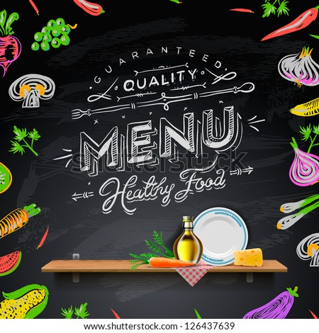 Vector set of design elements for the menu on the chalkboard. - stock vector