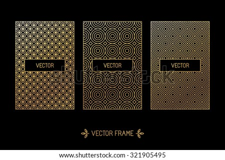 Vector set of design elements, labels and frames for packaging for luxury products in trendy linear style - simple and bright background made with golden foil on black background - stock vector