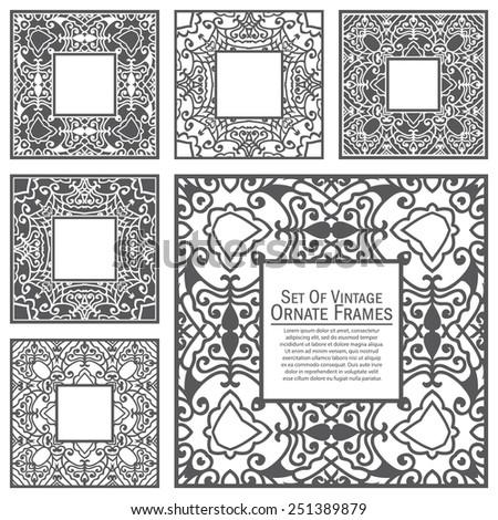 Vector set of design elements: Ornate Square Frames - stock vector