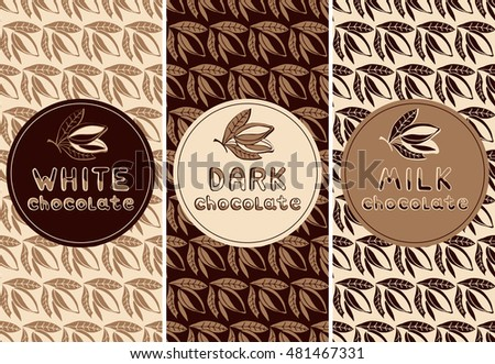 Vector set of design elements pattern for chocolate and cocoa packaging - labels and background