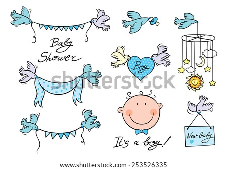 Vector set of design elements with hand drawn script, newborn baby face, birds carrying garlands, ribbon, heart, placard and module. - stock vector