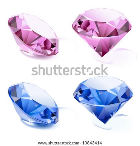 vector,Set of diamonds - stock vector
