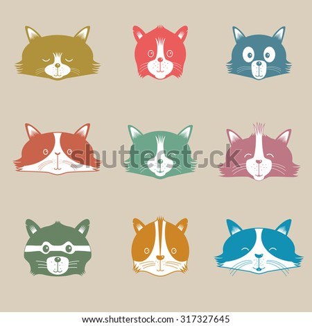 Vector Set Of Different Adorable Cartoon Cats Faces  - stock vector