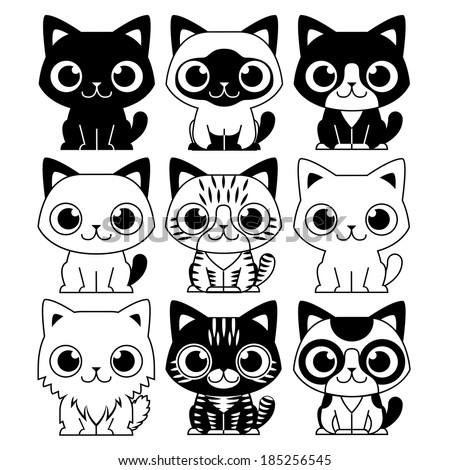 Vector Set Of Different Adorable Cartoon Cats Isolated - stock vector