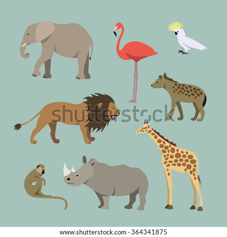 Vector Set Of Different African Animals. Animals of the African savanna: lioness, elephant, rhinoceros, giraffe, flamingo, monkey, hyena illustration  - stock vector
