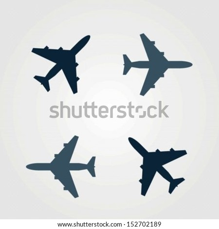 Vector set of different airplane icons - stock vector