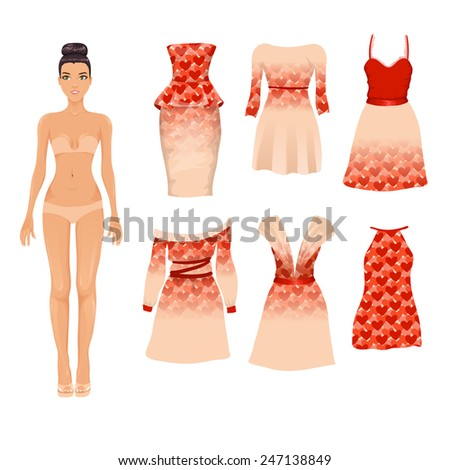 Vector set of different beige and red Valentine's Day cocktail dresses with heart pattern
