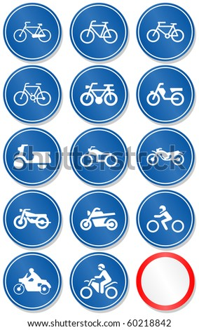 Vector set of different bike and motorbike traffic symbols. All vector objects are isolated. Colors and transparent background color are easy to adjust. - stock vector