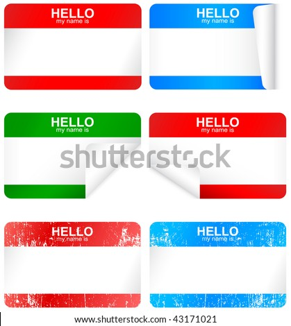 "Vector set of different blank ""Hello my name is"" stickers. All vector objects are isolated and grouped. Badges have a transparent background. Colors are easy to adjust/customize."