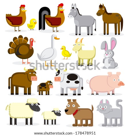 Vector Set Of Different Cartoon Farm Animals Isolated - stock vector