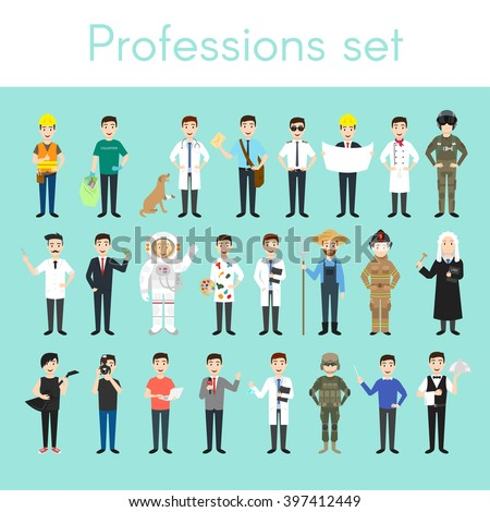 Vector set of different colorful man professions. Cartoon men characters. Doctor, volunteer, vet, firefighter, waiter, judge, programmer, artist, pilot, photographer, barber, astronaut, businessman. - stock vector