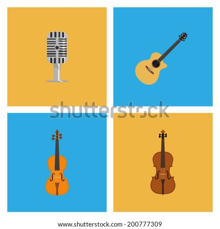 Vector Set Of Different Colorful Musical Elements - stock vector