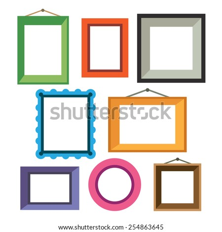 Vector set of different colorful photo frames in flat style: green, red, blue, orange, pink.Vector flat illustrations - stock vector