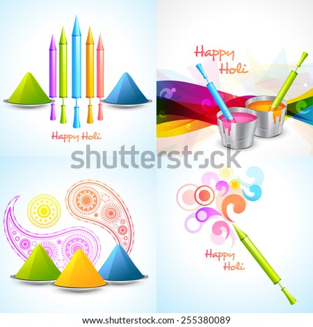 vector set of different colors of holi designs  with pichkari , gulal, bucket illustration - stock vector