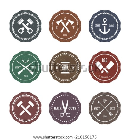 Vector set of different crafts emblems. Vintage style seals, badges and design elements. - stock vector
