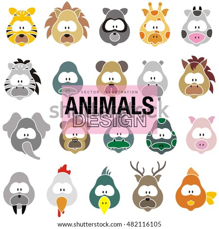 Vector set of different cute animals zoo