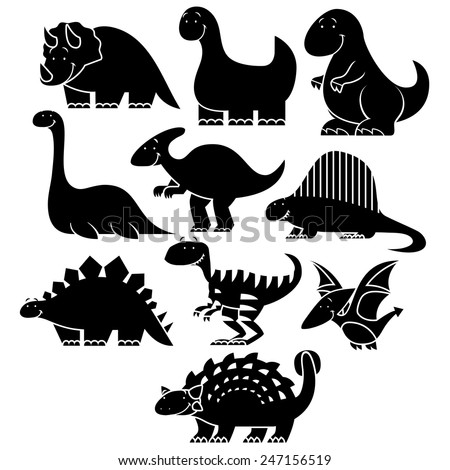 Vector Set Of Different Cute Cartoon Dinosaurs - stock vector