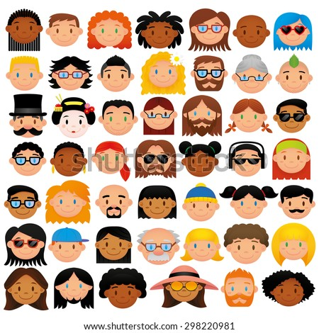 Vector Set Of Different Cute Faces Isolated - stock vector
