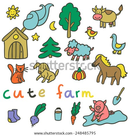 Vector set of different farm elements: house, trees, vegetables, shovel, bucket, boots and domestic animals: sheep, cow, pig, horse, cat, dog, chicken, goose. Funny hand drawing collection. - stock vector
