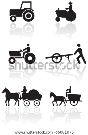 Vector set of different farmer symbols. Objects are isolated. Colors and transparent background color are easy to adjust. Symbols can be easily used individually, apart from the background image. - stock vector