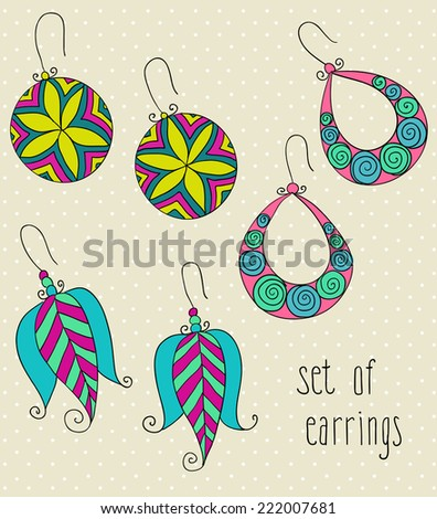 vector set of different fashion female  earrings