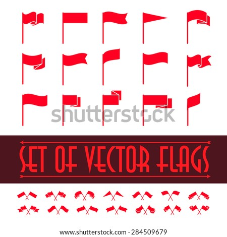 Vector set of different flag shapes isolated on white background. Red flag waving icon collection. Heraldry elements. Sale tag design. Label templates. - stock vector
