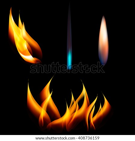 Vector set of different flames. - stock vector