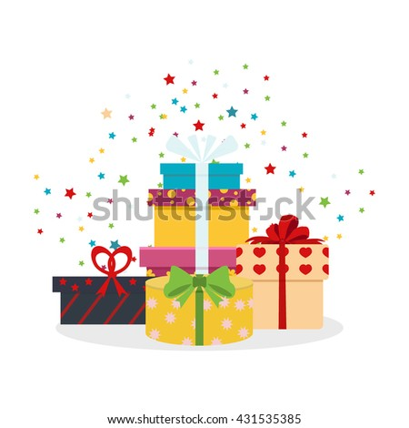 Vector set of different gift boxes. Flat gift box decoration design. Present box, holiday surprise birthday gifts and gifts paper package shopping, color greeting box anniversary party symbol. - stock vector