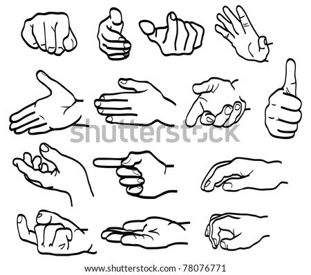 Vector set of different hand-drawn hand signs - stock vector